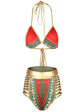 Ericdress Dashiki African Print High Waist Lace-Up Red Vintage Bikini Set