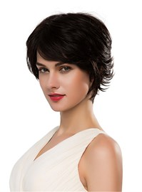 Ericdress Short Curly Nature Black Human Hair Capless Wig 10 Inches