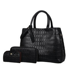 Ericdress Classic Stone Grain Embossing Handbag (3 Bag Set)