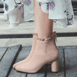 Ericdress Suede Square Toe Chunky Heel Boots