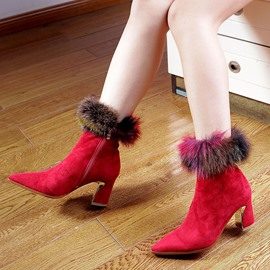 Ericdress Fashion Fuzzy Pointed Toe Chunky Heel Ankle Boots