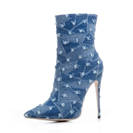 Ericdress Denim Color Block Stiletto Heel Boots