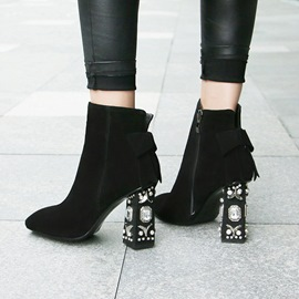 Ericdress Rhinestone Square Toe Chunky Heel Boots with Bowknot