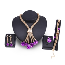 Ericdress Alluring Purple Amethyst Four-Piece Jewelry Set