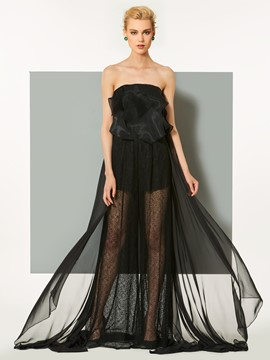 Ericdress Strapless Lace A-Line Ruffles Evening Dress With Court Train