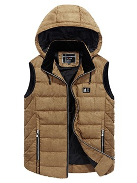 Ericdress Plain Zip Lightweight Hooded Down Casual Slim Men's Vest