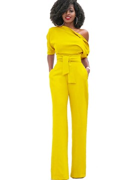 Ericdress Asymmetric Lace-Up Pocket Jumpsuits Pants