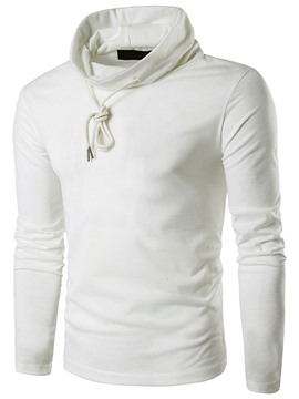 Ericdress Plain Heap Collar Long Sleeve Men's T-Shirt