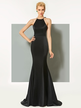 Ericdress Sheath Halter Long Evening Dress With Bowknot