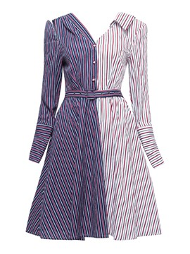 Ericdress Patchwork Single-Breasted Long Sleeve A Line Dress