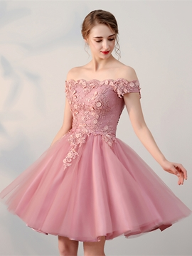 bec41623a0 Ericdress A Line Applique Off The Shoulder Short Homecoming Dress