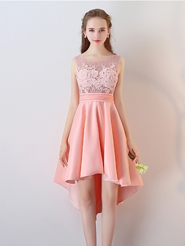 Ericdress A Line Applique High Low Asymmetry Homecoming Dress