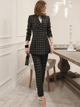 Ericdress Long Sleeves Notched Lapel Plaid Suits