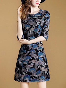 Ericdress Floral 3/4 Sleeve High-Waist A Line Dress