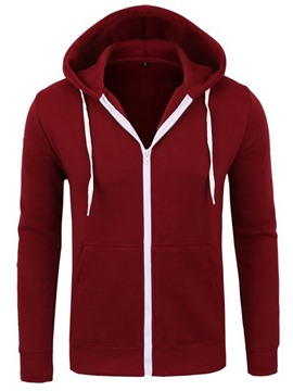 Ericdress Quality Plain Zip Casual Men's Hoodie