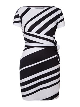 Ericdress Vertical Striped Short Sleeves Bodycon Dress