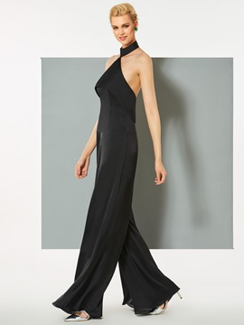 Ericdress Halter Backless Chiffon Long Evening Jumpsuit