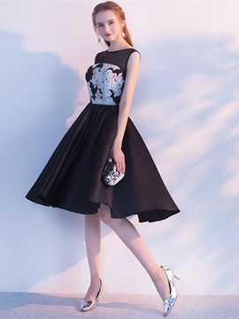 Ericdress A Line Bateau Neck Applique Knee Length Homecoming Dress