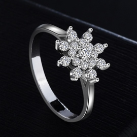 Ericdress Vintage Diamante Flower Women's Wedding Ring