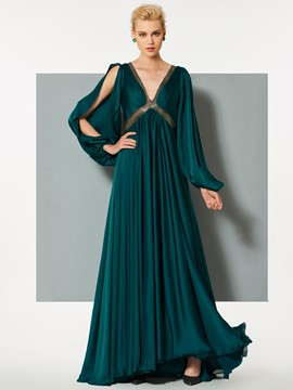Ericdress A Line Long Sleeve V Neck Beaded Backless Evening Dress