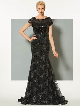 Ericdress Short Sleeve Sequins Mermaid Evening Dress With Sweep Train