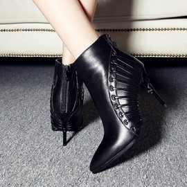 Ericdress Pointed Toe Back Zip Plain High Heel Boots