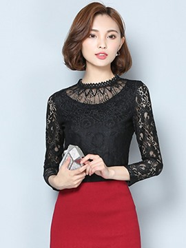 Ericdress Slim Plain Lace Hollow Blouse