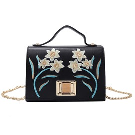 Ericdress Korean Style Embroidery Chain Crossbody Bag