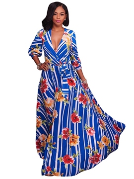 Ericdress Floral Vertical Striped Expansion Maxi Dress