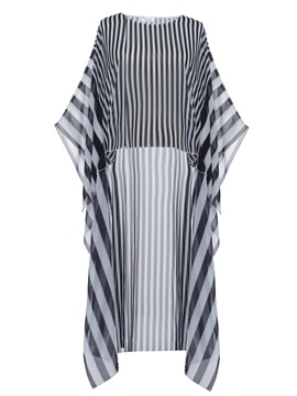 Ericdress stripe asymmetric long batwing sleeve blusa