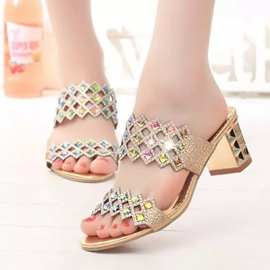 Ericdress Hollow Rhinestone Slip-On Women's Mules Shoes