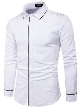 Ericdress Lapel Slim Long Sleeve Men's Shirt