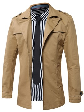 Ericdress Notched Lapel Solid Color Single-Breasted Trench Coat