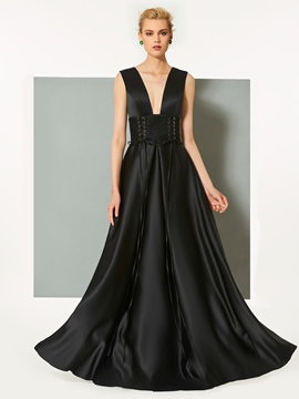 Ericdress A-Line Deep V-Neck Backless Evening Dress In Floor-Length