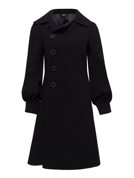Ericdress Slim Mid-Length Single-Breasted Coat