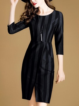Ericdress Scoop Vertical Striped Pocket Bodycon Dress