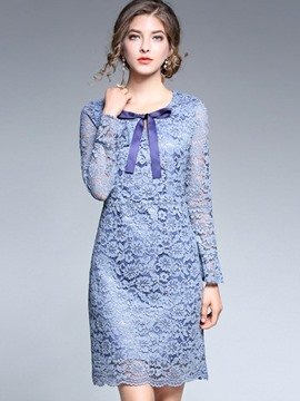 Ericdress Scoop Long Sleeves Bowknot Lace Dress