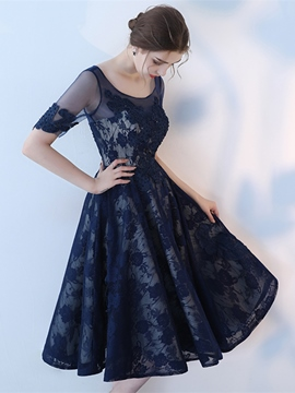 Ericdress A Line Short Sleeve Lace Tea Length Homecoming Dress