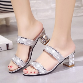 Ericdress Glitter Slip-On Chunky Mules Shoes with Diamond