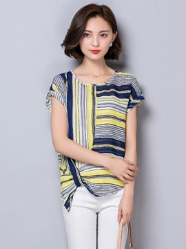 Ericdress Loose Stripe Print Blouse