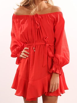 Ericdress Slash Neck Long Sleeves Casual Dress