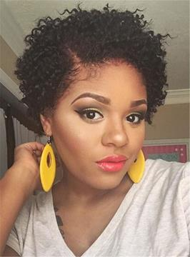 Ericdress Pixie Kinky Curly Short Natural Black Synthetic Hair For Round Face Lace Front Cap African American Wigs 6 Inches