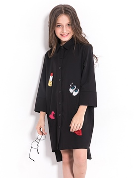 Ericdress Fashion Letter And Lips Printed Shirt-Like Girl's Dress