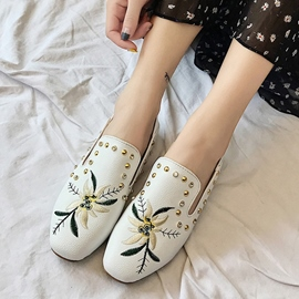 Ericdress Embroidery Rhinestone Floral Flats