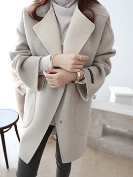 Ericdress Mid-Length Loose Pocket Plain Coat