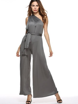 Ericdress Backless Asymmetric Lace-Up Wide Legs Jumpsuits Pants