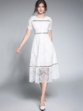 Ericdress Plain Hollow Short Sleeve Lace Dress