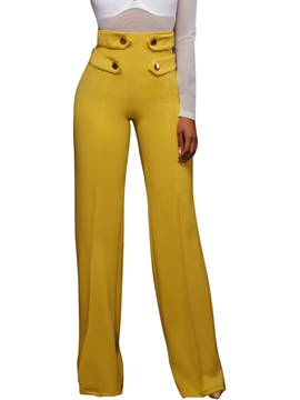 Ericdress High-Waist Button Pure Color Pants