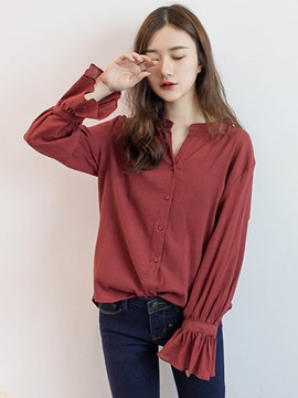 Ericdress Single-Breasted Loose Flare Sleeve Blouse