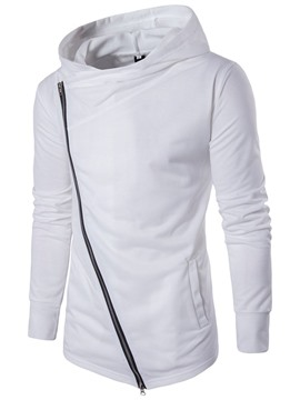 Ericdress Plain Oblique Zip Unique Casual Slim Men's Hoodie